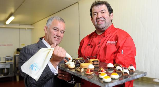Maynard Mawhinney, Invest NI Director of Food and Tourism, with Jean-Pierre Carre, managing director of Bangor-based patisserie business Choux Choux