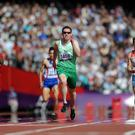 Jason Smyth in action in round 1 of the Men's 200m - T13 at the Olympics Stadium, London
