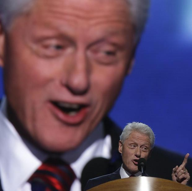 Former president Bill Clinton addresses the Democratic National Convention in Charlotte, North Carolina (AP)