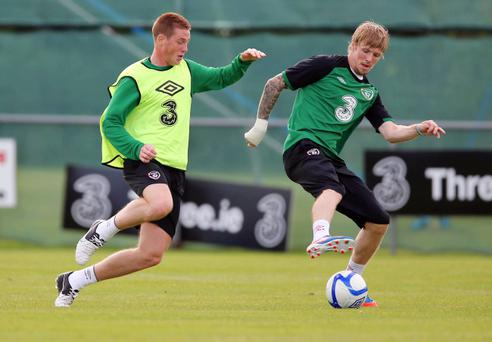 Republic of Ireland training, Gannon Park, Malahide. James McCarthy and Andy Keogh