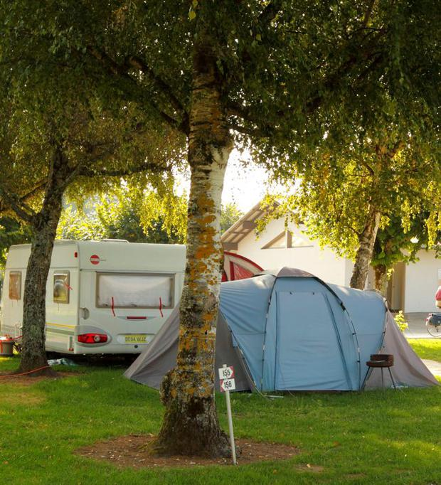 The caravan and tent used by Saad al-Hilli and his family while on holiday at the Le Solitaire du Lac campsite on Lake Annecy in the Haute-Savoie region of south-eastern France.