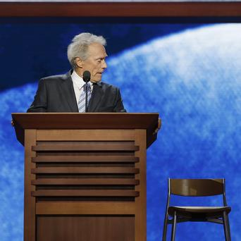 Clint Eastwood addresses an empty chair at the Republican National Convention in a mock interview with Barack Obama (AP)
