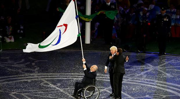 LONDON, ENGLAND - SEPTEMBER 09: Mayor of London Boris Johnson, President of the IPC Sir Philip Craven MBE and Mayor of Rio de Janeiro Eduardo Paes perform the Paralympic flag handover ceremonyduring the closing ceremony on day 11 of the London 2012 Paralympic Games at Olympic Stadium on September 9, 2012 in London, England. (Photo by Dean Mouhtaropoulos/Getty Images)