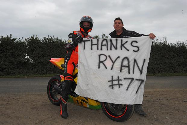 Ryan Farquhar bowed out of road racing with a tribute lap in memory of the late Trevor Ferguson at Killalane