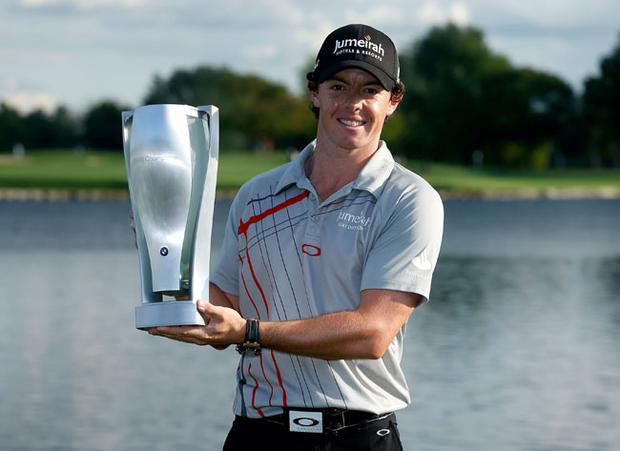 CARMEL, IN - SEPTEMBER 09: Rory McIlroy of Northern Ireland poses with trophy after his victory at the BMW Championship at Crooked Stick Golf Club on September 9, 2012 in Carmel, Indiana. (Photo by Scott Halleran/Getty Images)