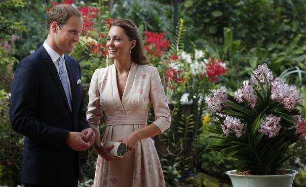 The Duke and Duchess of Cambridge during their first engagement, an orchid-naming ceremony, in Singapore, as part of a nine-day tour of the Far East and South Pacific in honour of the Queen's Diamond Jubilee.