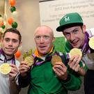 Irish Paralympians Jason Smyth, Mark Rohan, and Michael McKillop at Dublin Airport