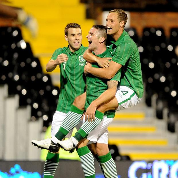 Robbie Brady, centre, was amongst the scorers as Ireland beat Oman