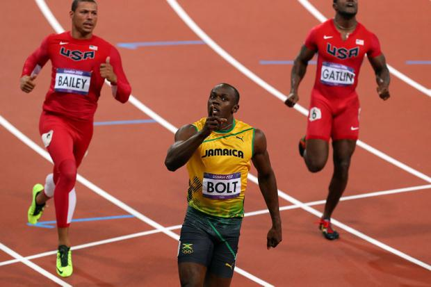 LONDON, ENGLAND - AUGUST 05: Usain Bolt of Jamaica crosses the line to win gold in the MenÂs 100m Final on Day 9 of the London 2012 Olympic Games at the Olympic Stadium on August 5, 2012 in London, England. (Photo by Alex Livesey/Getty Images)