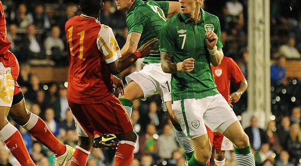 Robbie Brady, second right, was on the scoresheet for the Republic of Ireland against Oman
