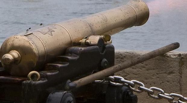 A canon fired from tall ship Amazing Grace was loaded with live rounds