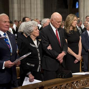 From left, Apollo 11 astronaut Buzz Aldrin, Annie Glenn, wife of former astronaut John Glenn, John Glenn and singer Diana Krall pause during the memorial service for Neil Armstrong(AP Photo/Pool, Evan Vucci, Pool)
