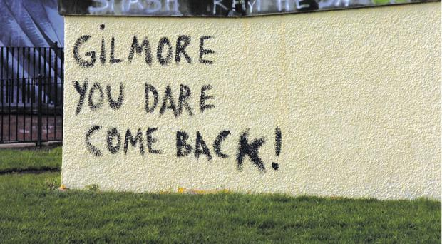 Anti-Raymond Gilmour graffiti in the Bogside