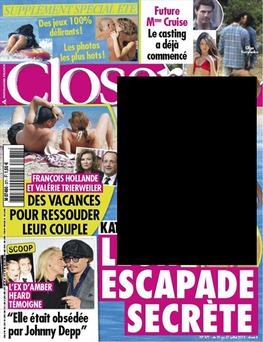 Closer magazine front cover - at the centre of a storm over topless pictures of Kate, Duchess of Cambridge