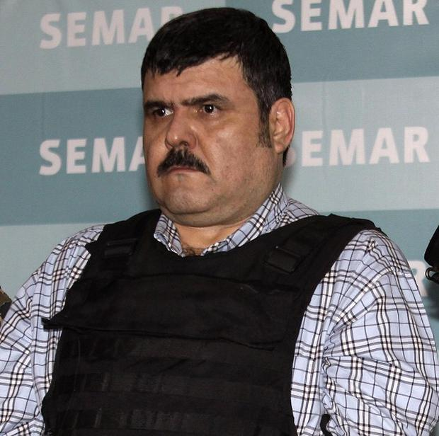 The alleged leader of the Gulf drug cartel, Jorge Eduardo Costilla Sanchez after his arrest (AP/Dario Lopez-Mills)