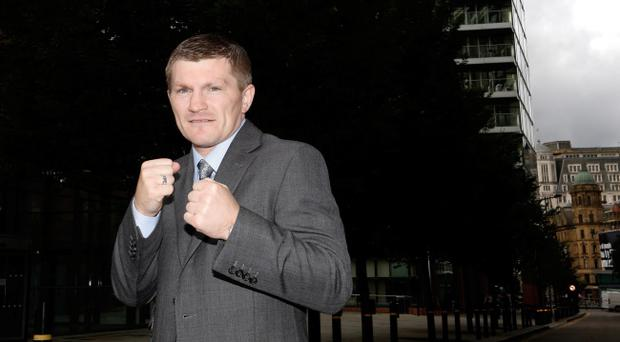 MANCHESTER, ENGLAND - SETEMBER 14: Boxer Ricky Hatton poses for a photograph after a press conference at the Radisson Blu Edwardian Hotel on September 14, 2012 in Manchester, England. Hatton today confirmed that he is to resume boxing after being in retirement for three years. (Photo by Paul Thomas/Getty Images)