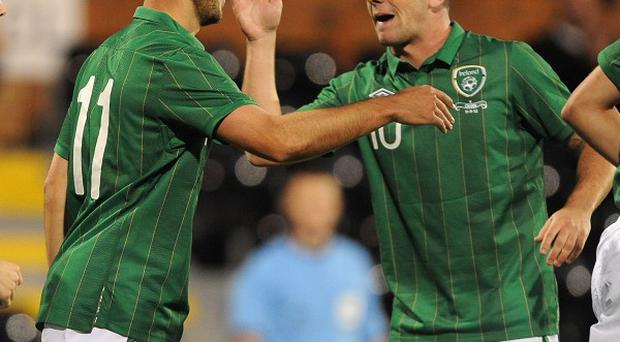 Robbie Brady, right, impressed on his debut