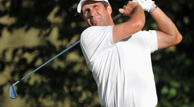 TURIN, ITALY - SEPTEMBER 12: Jose Maria Olazabal of Spain plays a shot during the pro-am prior to the start of the BMW Italian open at Royal Park Golf & Country Club on September 12, 2012 in Turin, Italy. (Photo by Stuart Franklin/Getty Images)
