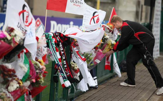 Book of condolence opened at Ravenhill rugby ground for Ulster rugby star Nevin Spence along with his brother Graham and father Noel who died in a slurry tank accident on the family farm outside Hillsborough in Co. Down. Tributes placed at Ravenhill
