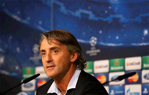 Roberto Mancini the manager of Manchester City faces the media during a press conference at Estadio Santiago Bernabeu on September 17, 2012 in Madrid