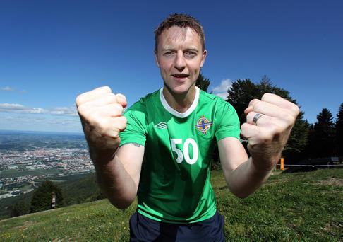 Stephen Craigan pictured at the top of a mountain in Maribor in 2010 prior to winning his 50th Intermnational Cap when he led Northern Ireland as captain in a UEFA Euro 2012 qualifying match at the Ljudski VRT Stadium, Maribor
