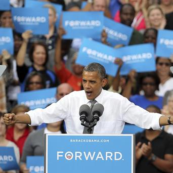 President Barack Obama delivers an address during a campaign stop in Columbus, Ohio (AP)