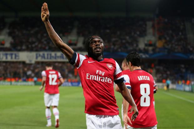 MONTPELLIER, FRANCE - SEPTEMBER 18: Gervinho of Arsenal celebrates scoring his teams second goal during the UEFA Champions League match between Montpellier Herault SC and Arsenal at Stade de la Mosson on September 18, 2012 in Montpellier, France. (Photo by Julian Finney/Getty Images)
