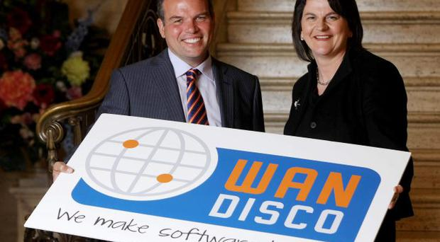 Enterprise Minister Arlene Foster with David Richards, president and co-founder, WANdisco