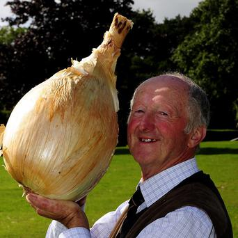 Peter Glazebrook with his world record breaking onion that weighed in at 18lbs 1oz at the Harrogate Autumn Flower Show
