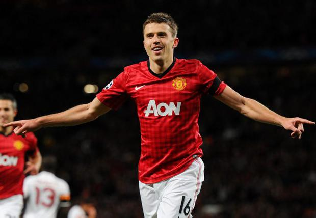 Michael Carrick of Manchester United celebrates as he scores during the UEFA Champions League Group H match between Manchester United and Galatasaray