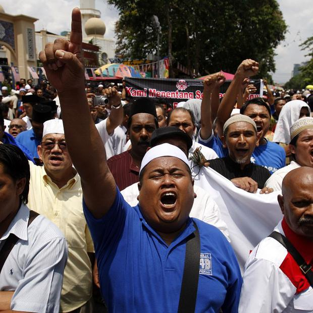 Muslims protest against the Innocence of Muslims film in Kuala Lumpur