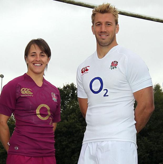 Chris Robshaw, right, welcomed England's new red wine change strip, worn here by Katy McLean