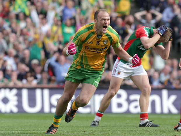 GAA Football All Ireland Senior Championship Final, Croke Park, Dublin 23/9/2012Donegal vs MayoDonegal's Colm McFadden celebrates scoring a goalMandatory Credit ©INPHO/Morgan Treacy *** Local Caption ***