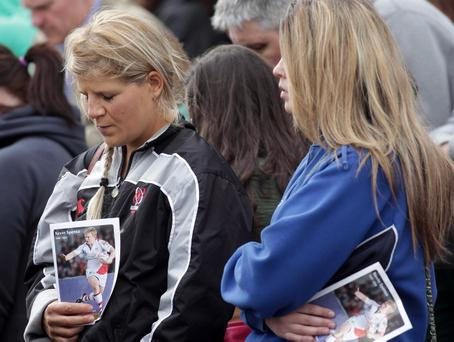 Northern Ireland- 22nd September 2012 Mandatory Credit - Photo-Jonathan Porter/Presseye. Memorial service held at Ravenhill for Ulster Rugby's Nevin Spence who died last week with his brother Graham and father Noel due to a farm accident. Ulster fans pictured during the service at Ravenhill.