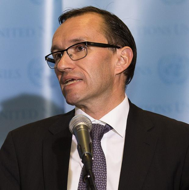 Norwegian foreign minister Espen Barth Eide speaks to the media after a meeting of the Donor Support Group for the Palestinian Authorities (AP)