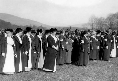 The Women of Ulster. A detachment of nurses, which includes many of the leading Ulster ladies of that period, all specially trained.
