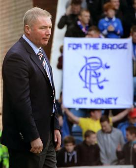 Rangers manager Ally McCoist gestures on the touchline during the Irn Bru Scottish Division Three match at Ibrox, Glasgow