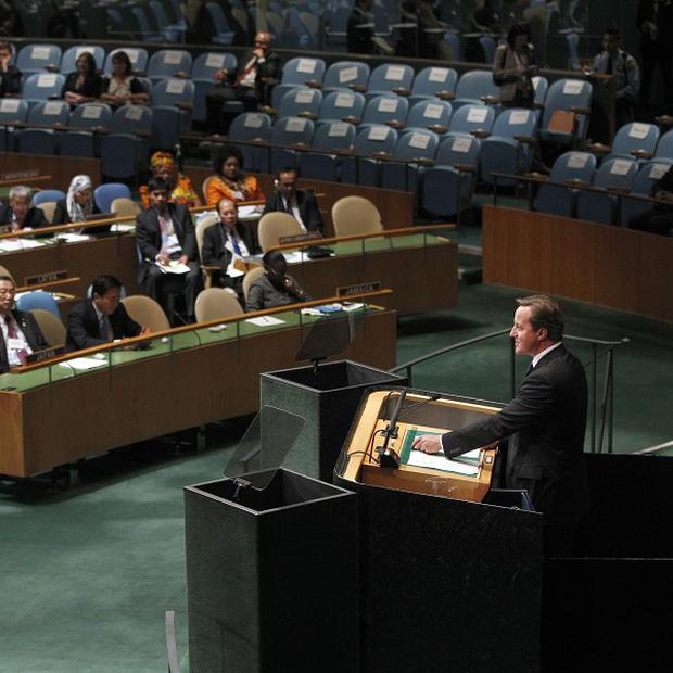 David Cameron addresses the 67th session of the United Nations General Assembly at UN headquarter (AP Photo/Mary Altaffer)