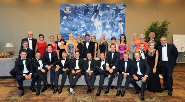 ROSEMONT, IL - SEPTEMBER 26: The European team players pose for a photograph with their wives and partners prior to the 39th Ryder Cup gala>> at Akoo Theatre at Rosemont on September 26, 2012 in Rosemont, Illinois. (Photo by David Cannon/Getty Images)