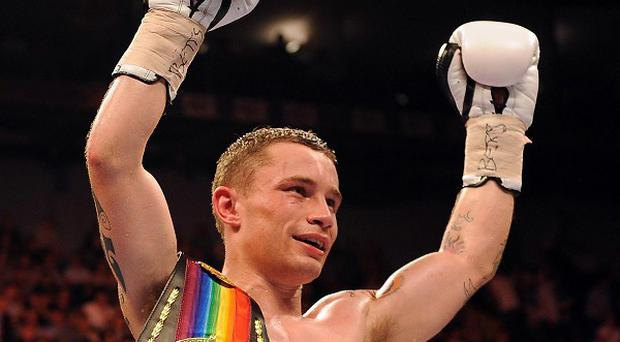 Carl Frampton, pictured, knocked down Steve Molitor in the sixth round before sealing victory