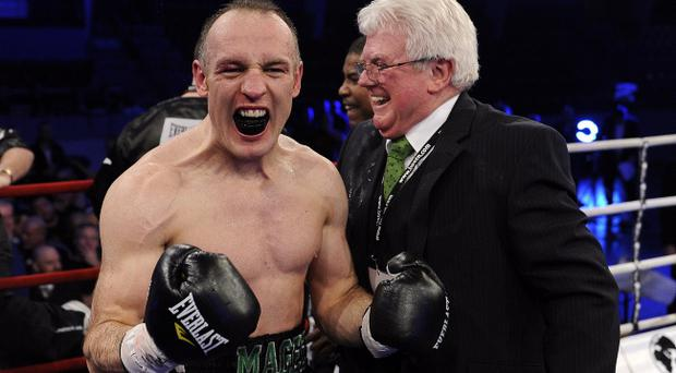Brian Magee (left) with manager Pat Magee has promised to continue his fine run in Denmark when he takes on Mikkel Kessler