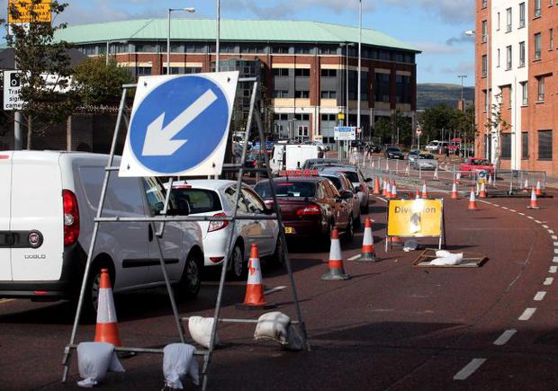 Cars queued at the city centre roadworks where there was not much apparent activity