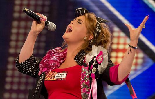 Jade C as she performs during the London auditions for this year's X Factor.