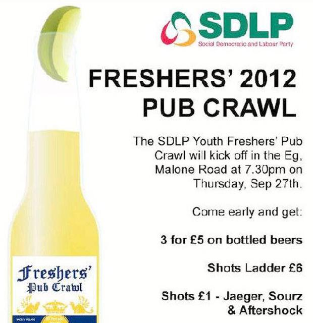 Invitation from SDLP Youth to a freshers pub crawl