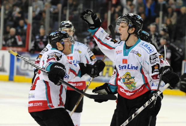 Craig Peacock of the Belfast Giants got on the scoresheet against the Cardiff Devils last night