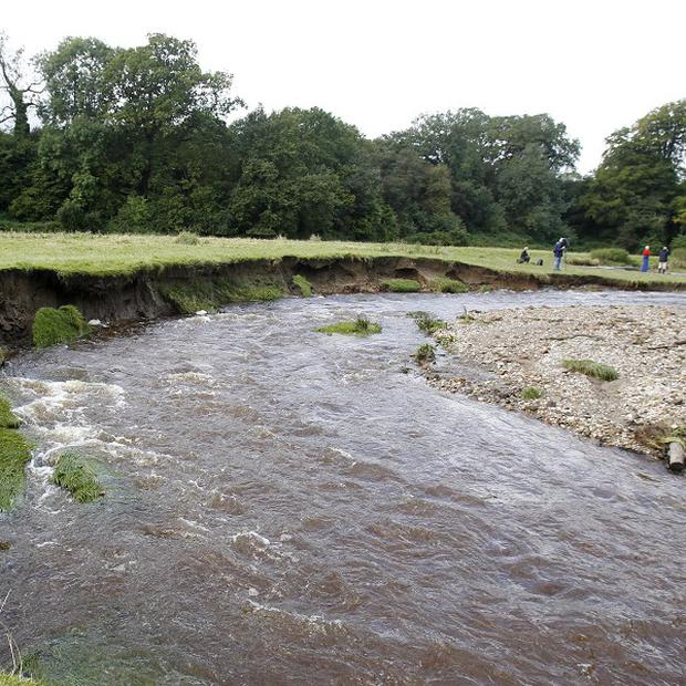 The River Clywedog near Wrexham, North Wales, where the two bodies were recovered