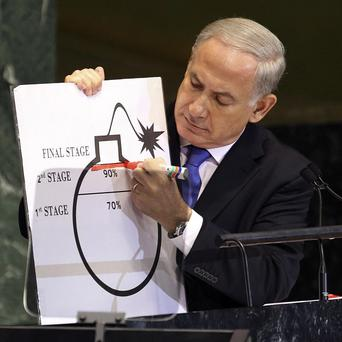 Benjamin Netanyahu shows an illustration as he describes his concerns over Iran's nuclear ambitions (AP/Seth Wenig)