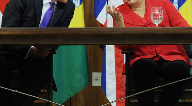 David Cameron and Brazilian president Dilma Rousseff talk at the Presidential Palace in Brasilia, Brazil