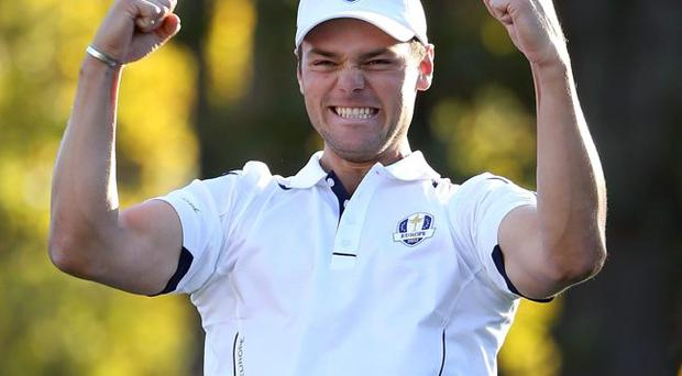 Martin Kaymer celebrates after sinking the decisive putt for Europe, to win the 2012 Ryder Cup at Medinah Country Club, Illinois