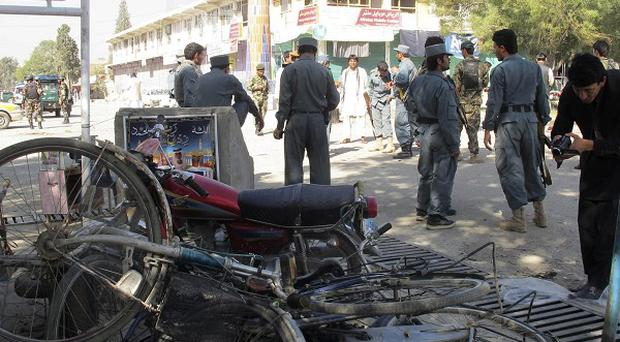 The bomber on a motorcycle struck a foot patrol in eastern Afghanistan